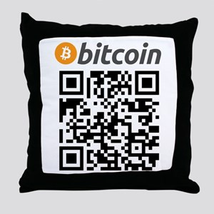 Bitcoin QR Code Throw Pillow