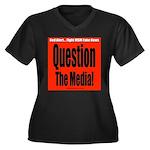 Question Med Women's Plus Size V-Neck Dark T-Shirt