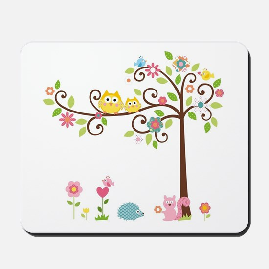 Owl family tree Mousepad
