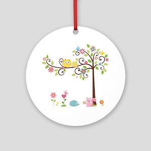 Owl family tree Round Ornament