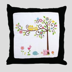 Owl family tree Throw Pillow