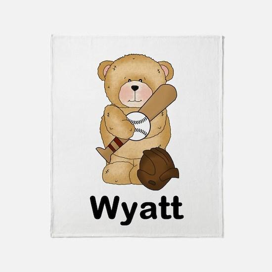 Wyatt's Baseball Bear Throw Blanket