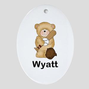 Wyatt's Baseball Bear Oval Ornament