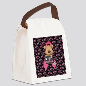 Breast Cancer Awareness Bear Canvas Lunch Bag