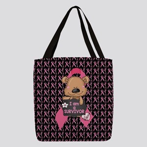 Breast Cancer Awareness Bear Polyester Tote Bag