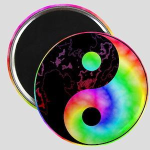 Rainbow Swirl Yin Yang Symbol Magnets