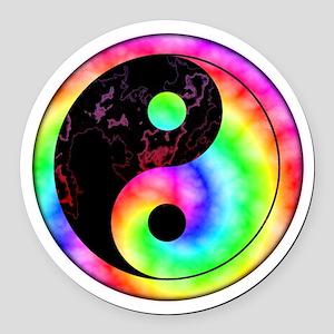 Rainbow Swirl Yin Yang Symbol Round Car Magnet