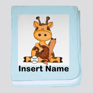 baseball giraffe personalized baby blanket
