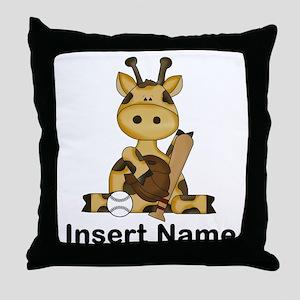 baseball giraffe personalized Throw Pillow