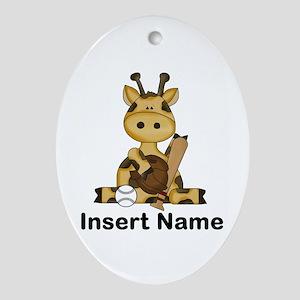 baseball giraffe personalized Oval Ornament