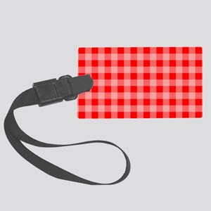 Red Plaid Large Luggage Tag