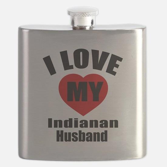 I Love My Indianan Husband Flask