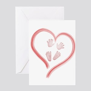 Pink Baby Hands and Feet in Heart Greeting Cards