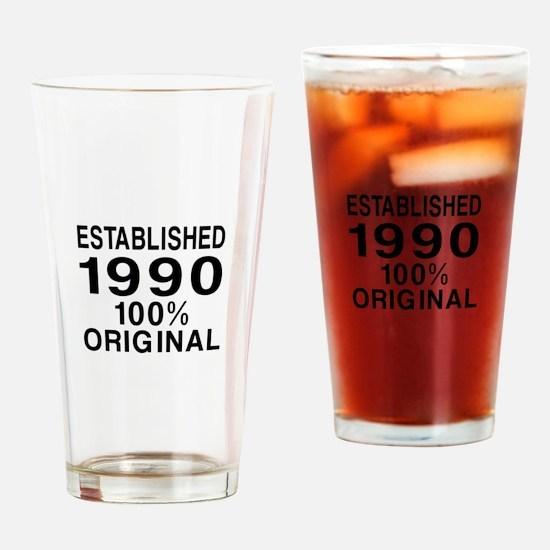 Est.Since 1990 Drinking Glass