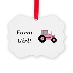 Farm Girl Tractor Ornament