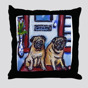 PUGS wait at door Throw Pillow