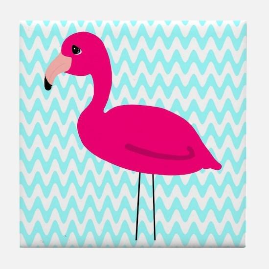 Pink Flamingo Teal Tile Coaster