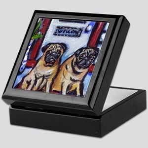 PUGS wait at door Keepsake Box