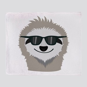 Sloth with sunglasses Throw Blanket
