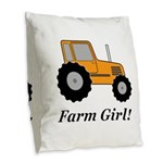Farm Girl Tractor Burlap Throw Pillow