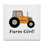 Farm Girl Tractor Tile Coaster