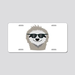 Sloth with sunglasses Aluminum License Plate