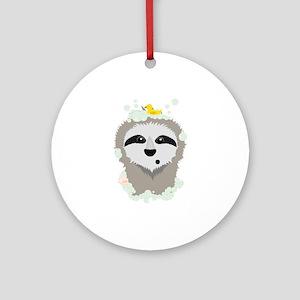 Sloth in bubbles Round Ornament