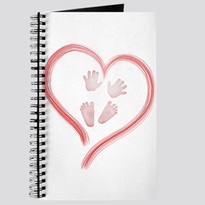 Pink Baby Hands and Feet in Heart Journal