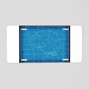 Blueprint Brain Aluminum License Plate