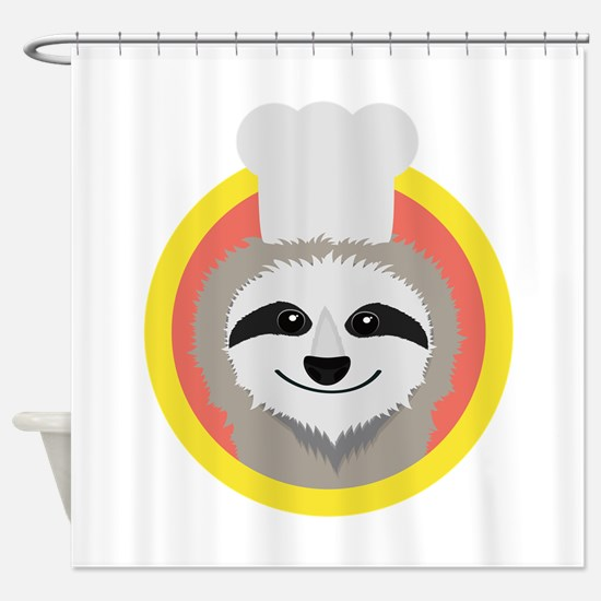 Sloth cook with hat Shower Curtain
