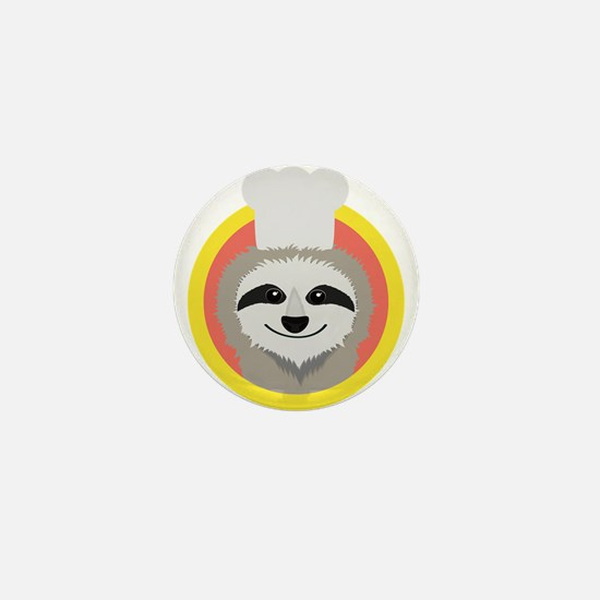 Sloth cook with hat Mini Button