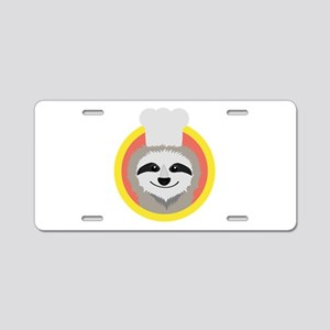 Sloth cook with hat Aluminum License Plate