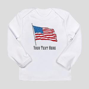 Custom US Flag Design Long Sleeve T-Shirt