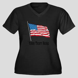 Custom US Flag Design Plus Size T-Shirt
