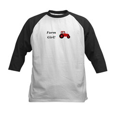 Farm Girl Tractor Kids Baseball Jersey