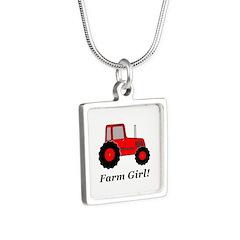 Farm Girl Tractor Silver Square Necklace