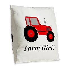 Farm Girl Tractor Burlap Throw Pillow