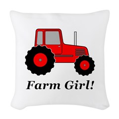 Farm Girl Tractor Woven Throw Pillow