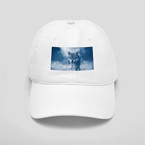 Growling Wolf in Snowfall Cap