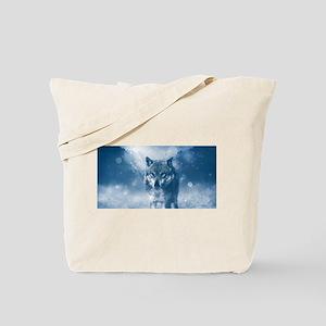 Growling Wolf in Snowfall Tote Bag