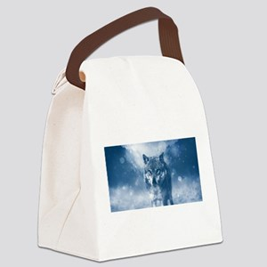 Growling Wolf in Snowfall Canvas Lunch Bag