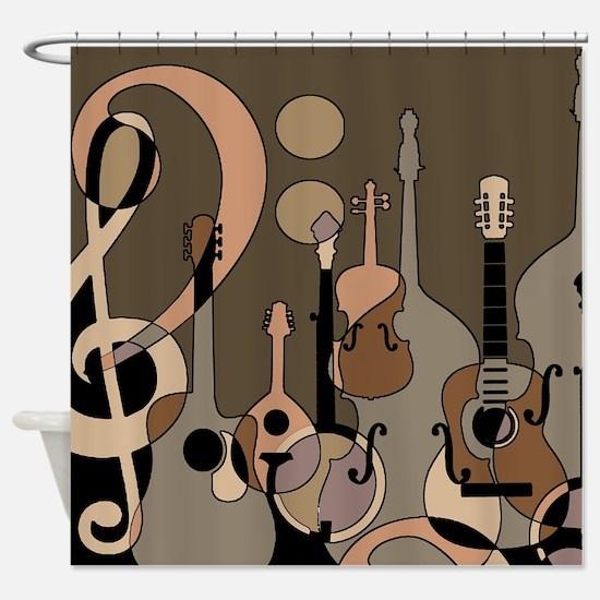 Funny Bass guitar Shower Curtain