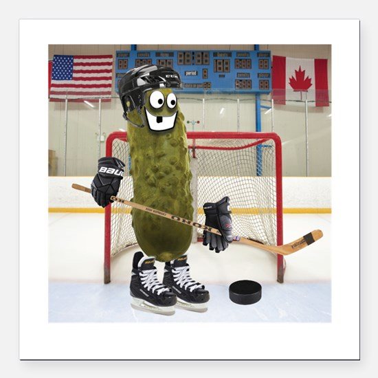 "Hockey Pickle Square Car Magnet 3"" x 3"""