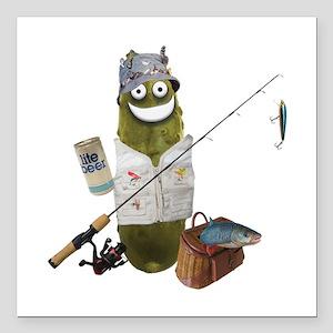 "Fishing Pickle Square Car Magnet 3"" x 3"""