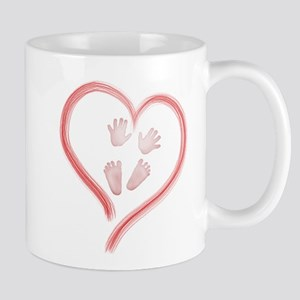 Pink Baby Hands and Feet in Heart Mugs