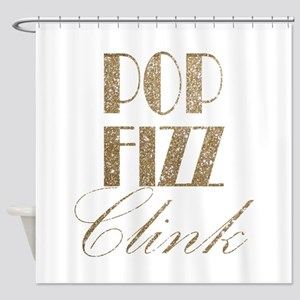 champagne pop fizz clink Shower Curtain