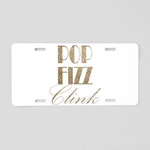 champagne pop fizz clink Aluminum License Plate