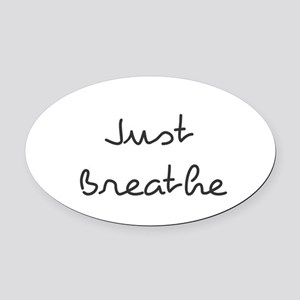 Just Breathe Oval Car Magnet