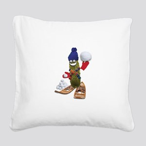 Snowball Fight Pickle Square Canvas Pillow
