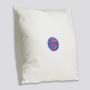 Run To Cure Cancer Now! Burlap Throw Pillow